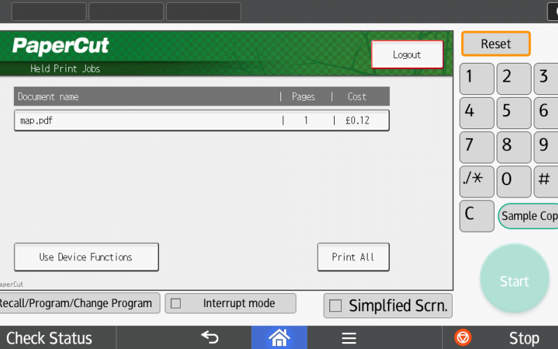Picture of PaperCut interface on the MFD show a list print jobs