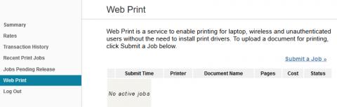 Picture of the PaperCut Web Print Menu