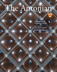 Front cover of the Antonian newsletter, showing the ceiling of the Hilda Besse building - hexagonal panels with spotlights.