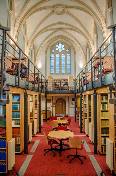 A photograph of St Antony's College Library's main reading room