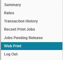 Picture of the PaperCut Web Menu