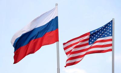 Russia US Flags